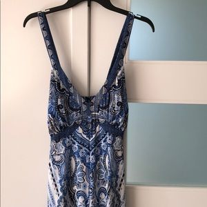 INC Blue & White Paisley Handkerchief Dress
